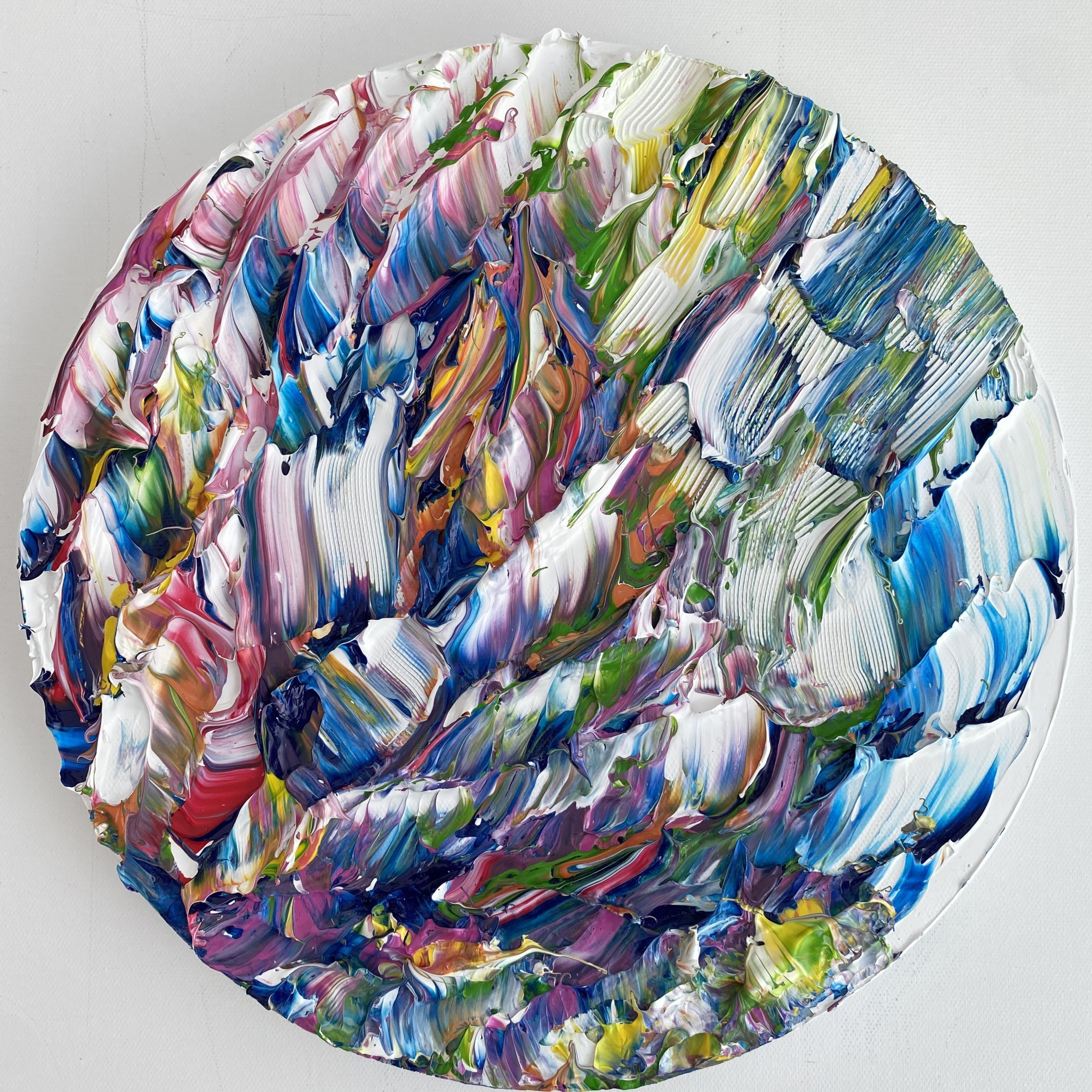 kaleidoscopic round sculpted painting on canvas by emily duchscherer Kirk somerset uk