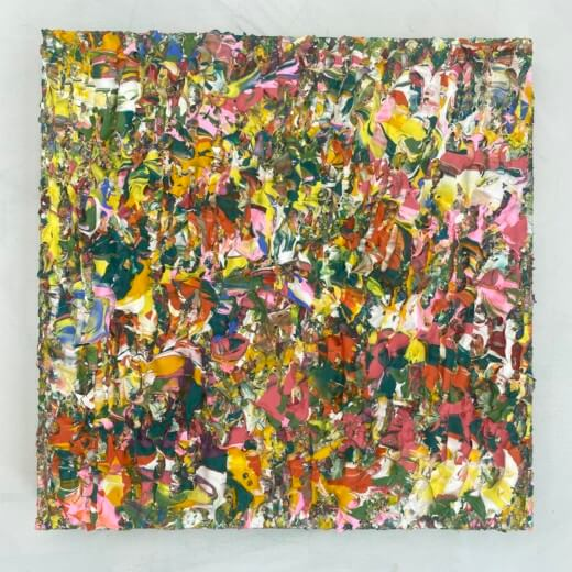 flat lay photography of a colourful abstract textured art on canvas by emily duchscherer kirk