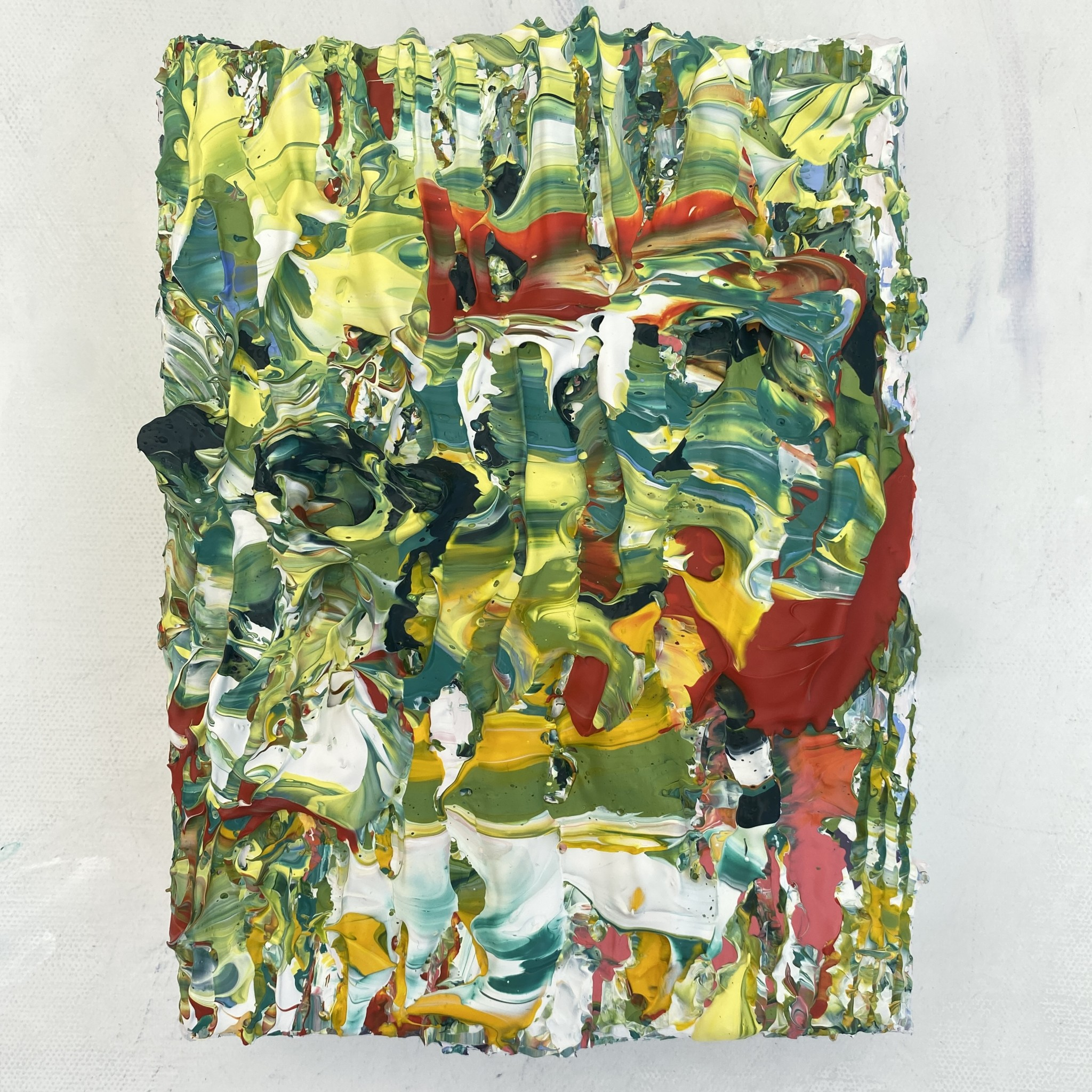 Detailed Gallery View of Rainforest mini original abstract textured painting by Emily Duchscherer Kirk.