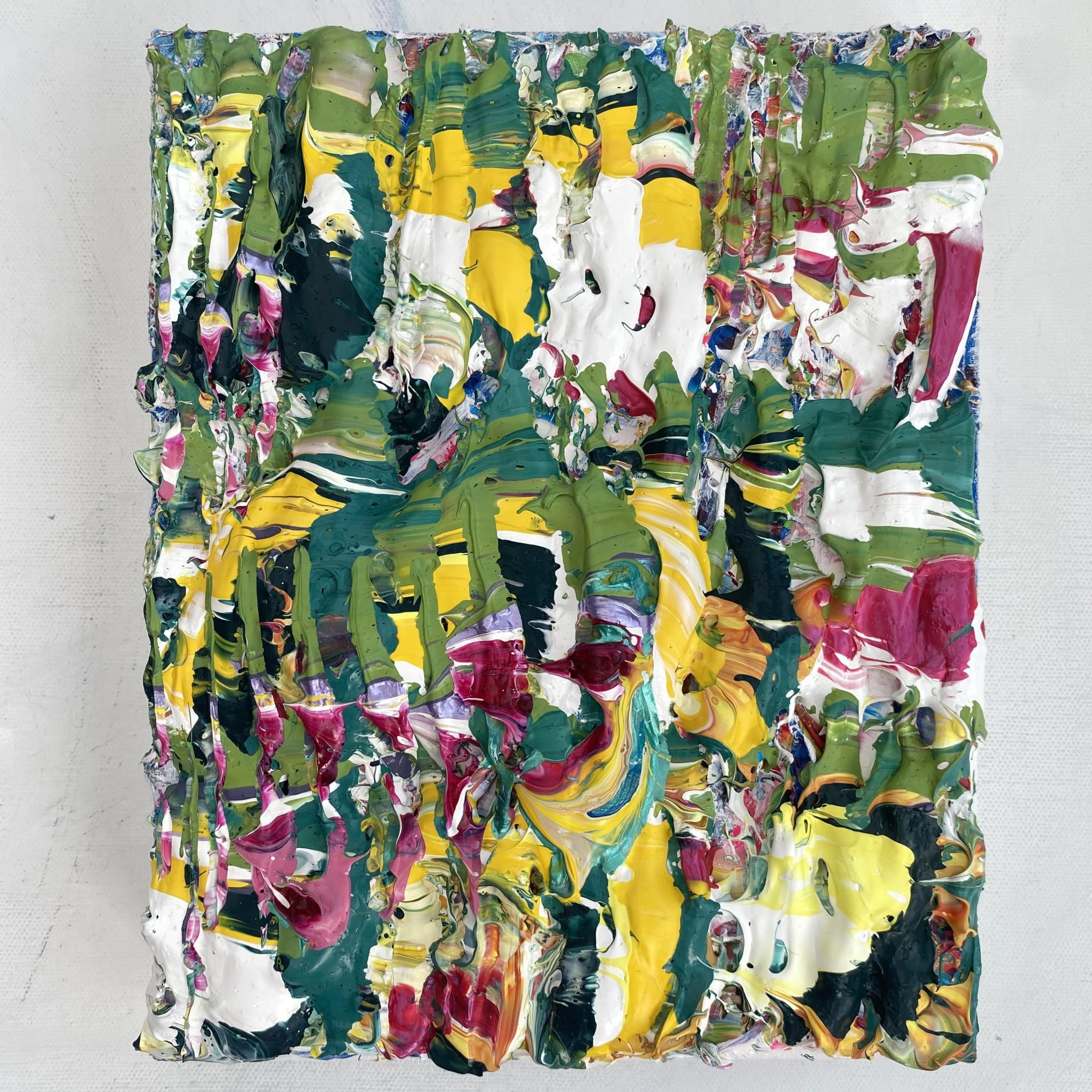 Full view of Verdure of the Rain forest, abstract original impasto art by Emily Duchscherer Kirk.