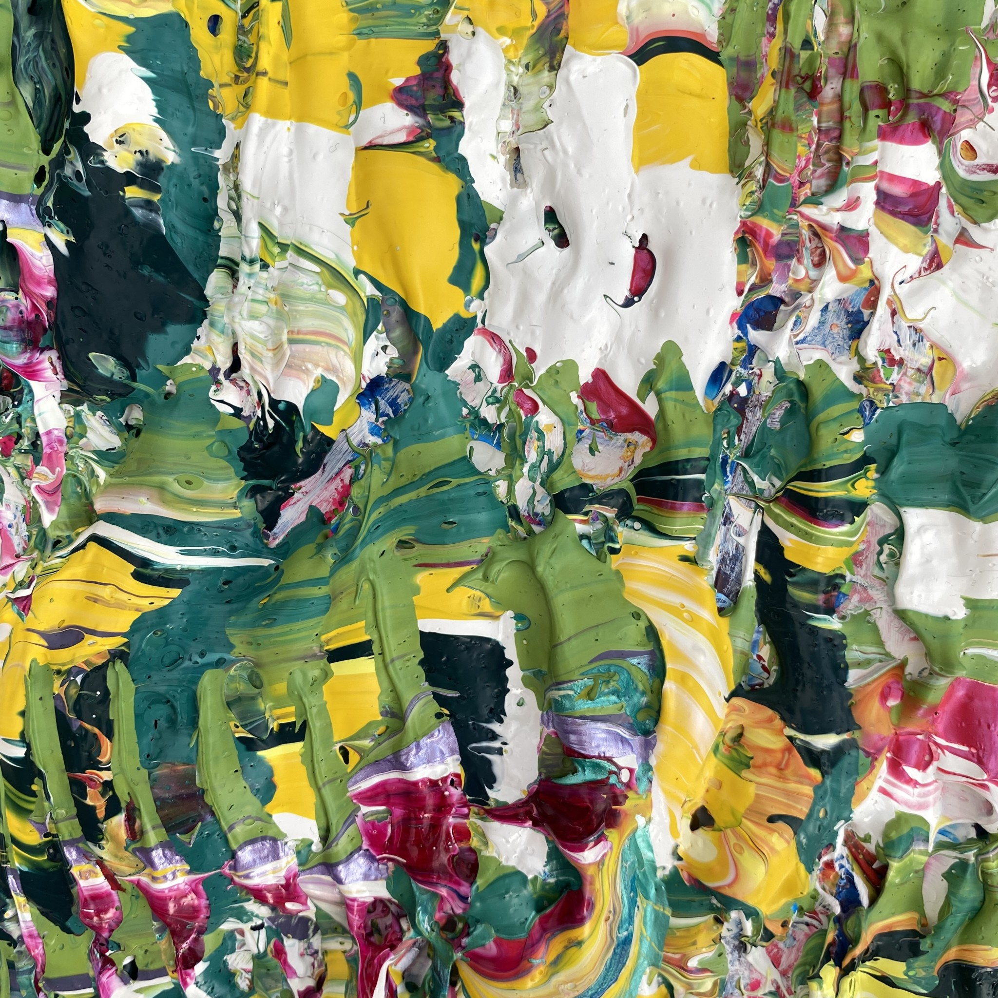 Detailed close up view of Verdure of the Rain forest, abstract original impasto art by Emily Duchscherer Kirk.