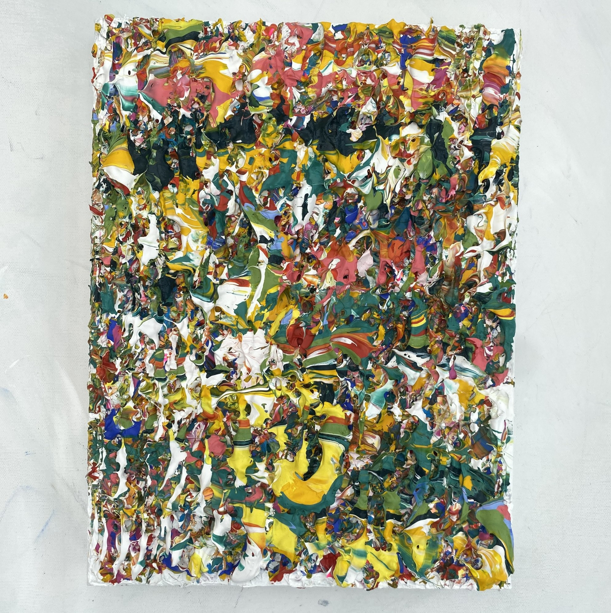Full gallery view of Superabundance an plant life inspired colourful abstract original impasto style art by Emily Duchscherer Kirk.