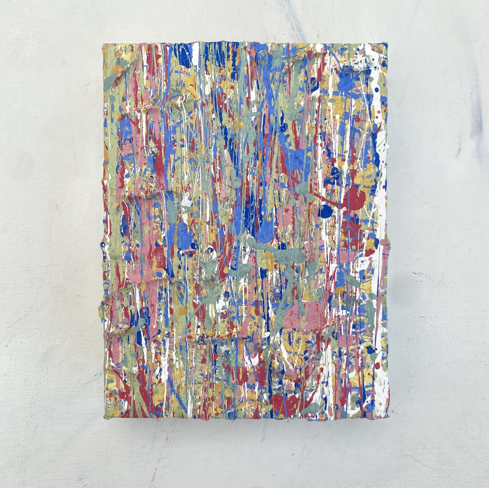 galley view of Elements Four a colourful abstract artwork created using plastic free environmentally friendly paints by somerset artist emily duchscherer kirk