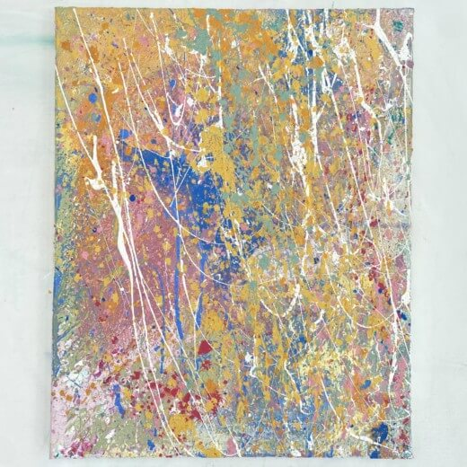 Full view of elemental an abstract original painting created with eco friendly paints by Emily Duchscherer Kirk.
