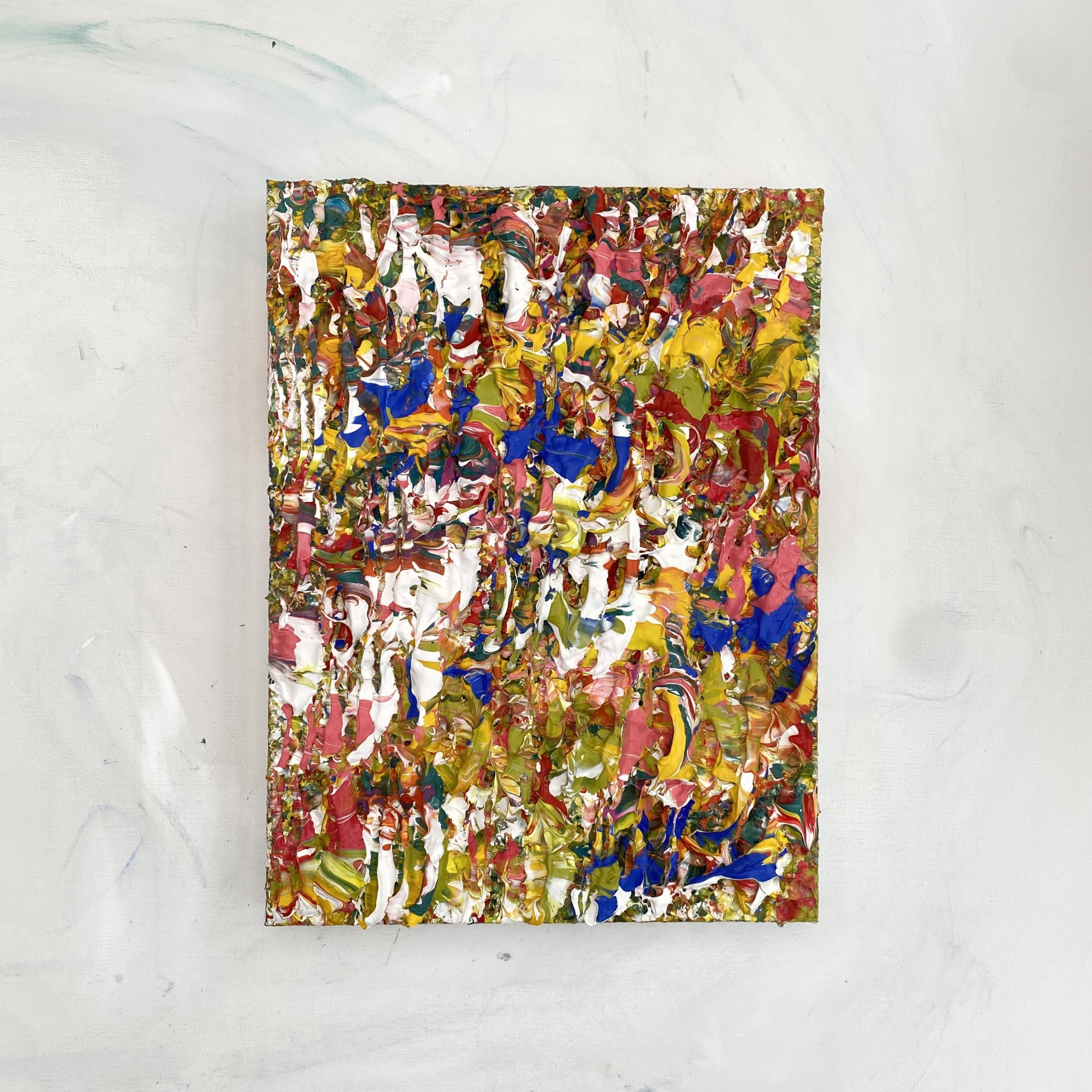 Tropics full view hanging colourful abstract textured impasto painting sculpted on canvas pink green yellow blue inspired by plant life