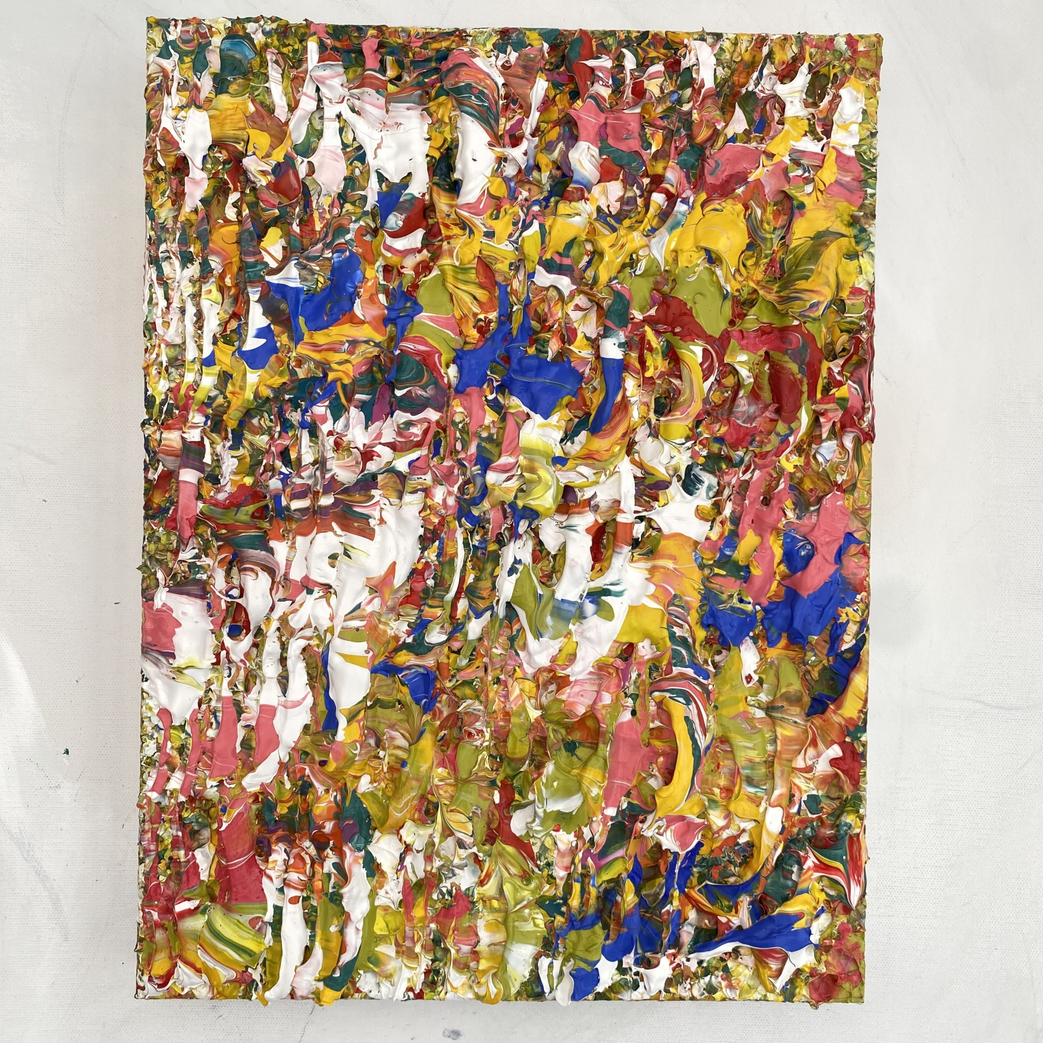 Lush Tropics full view hanging colourful abstract textured impasto painting sculpted on canvas pink green yellow blue inspired by plant life