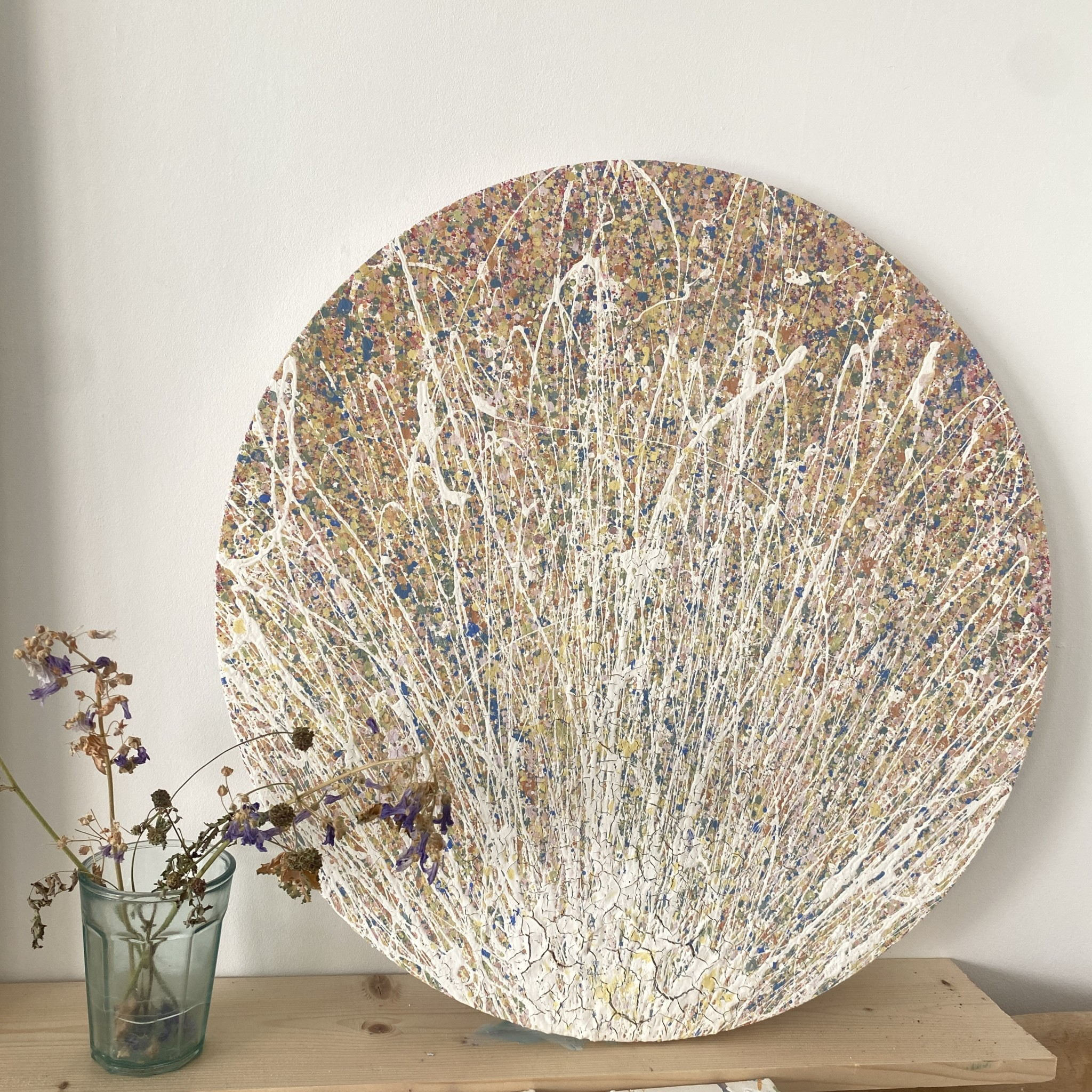 the gallery view of dawning of autumn in somerset by somerset artist emily duchscherer kirk created with eco friendly, water based paints which show hints of a glossy affect this circular artwork is finished a satin varnish that gives a three dimensional affect this round textured abstract painting is made on a cotton canvas measuring 60 centimetres in diameter which is approximately 24 Inches dawning of autumn in Somerset was completed in my home studio located in south Somerset