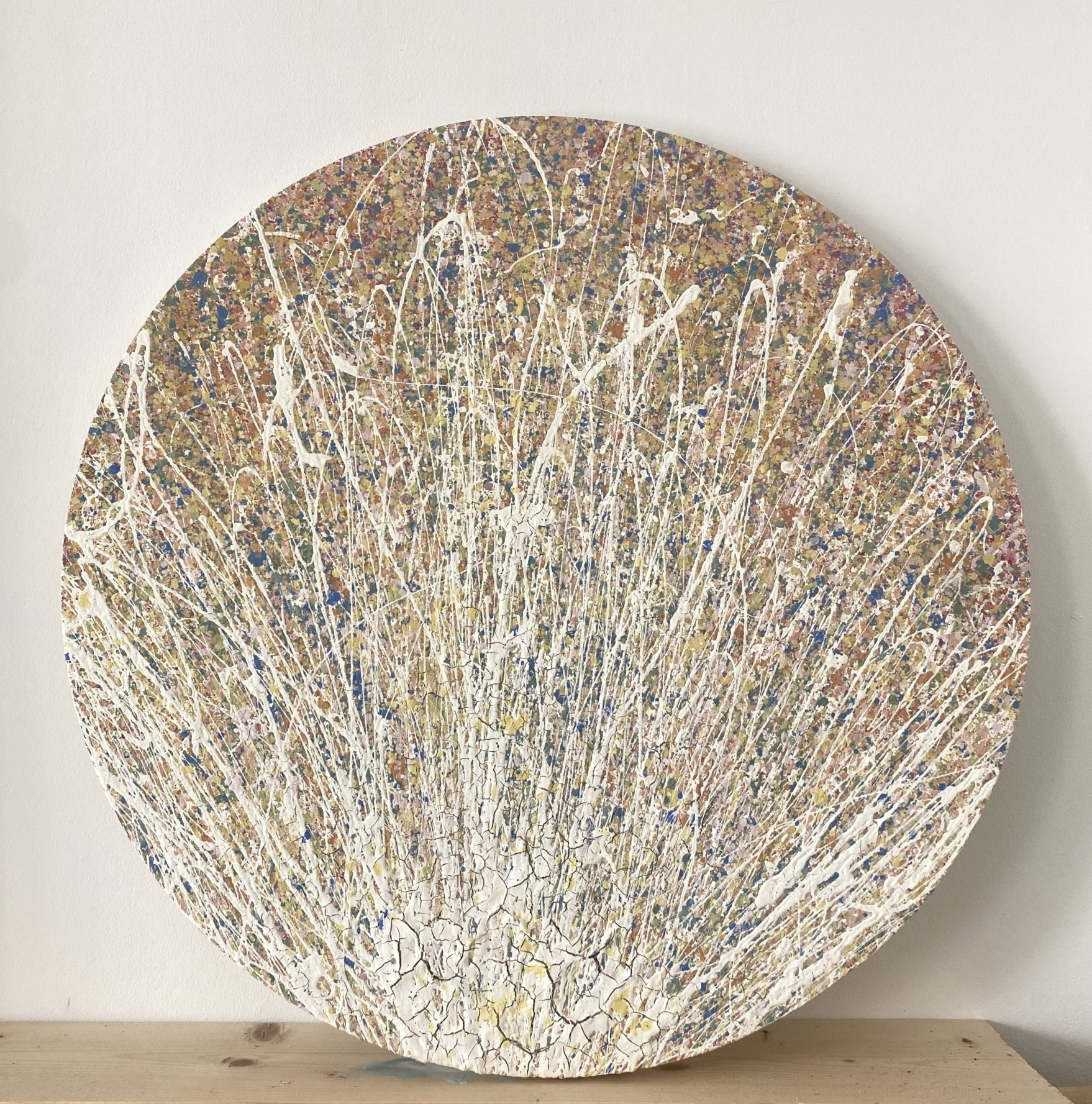 a gallery view of dawning of autumn in somerset by somerset artist emily duchscherer kirk created with eco friendly, water based paints which show hints of a glossy affect this circular artwork is finished a satin varnish that gives a three dimensional affect this round textured abstract painting is made on a cotton canvas measuring 60 centimetres in diameter which is approximately 24 Inches dawning of autumn in Somerset was completed in my home studio located in south Somerset
